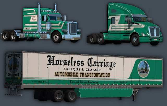 Peterbilt 389, Kenworth T680, dry van Horseless Carriage skins