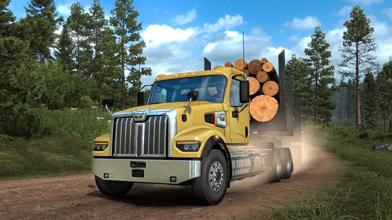 western star delivering logs